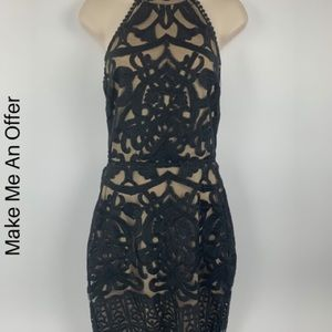 Fashion nova medium dress lace open back black